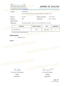 Thyroid-S Aluminum Content Lab Report