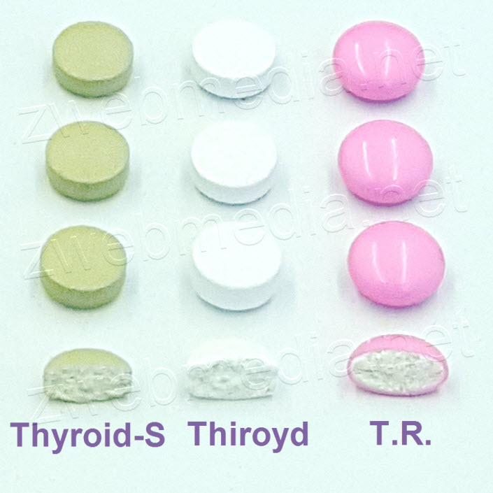 Cross section view of Thyroid-S, Thiroyd, and T.R. tablets